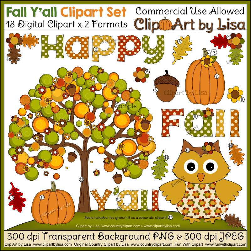 10 Red Fall Leaf 11 A Pumpkin 12 Autumn Tree With Flowers And Acorns 13 Word Yall 14 Green 15 Cute Colored Owl 16 Brown