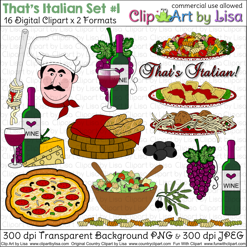 Kitchen Cooking Baking and Food Clipart Sets