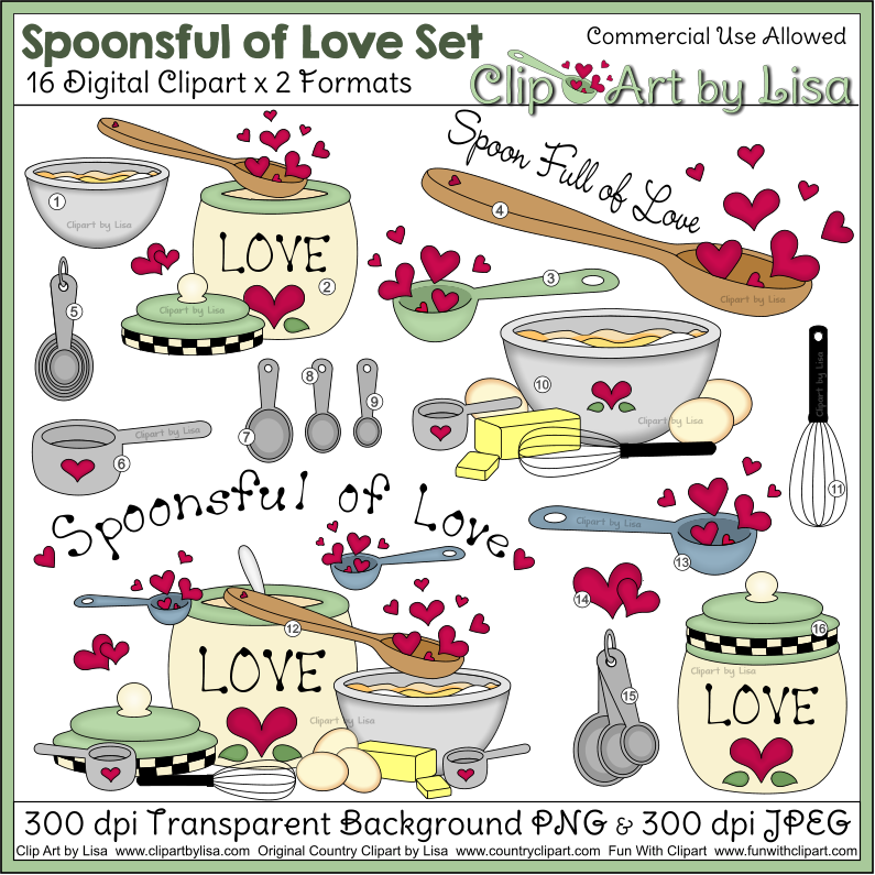 Baking clipart spoonsful of love for Art cuisine evolution 10 piece cooking set