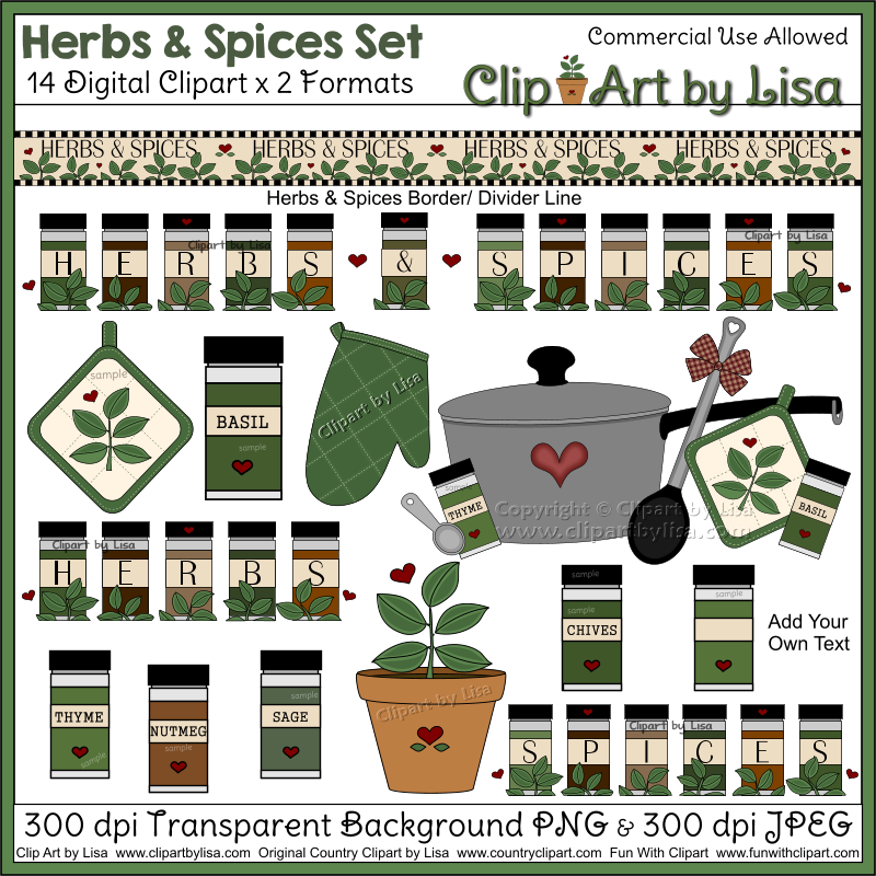 Herbs and Spices Cooking Clipart