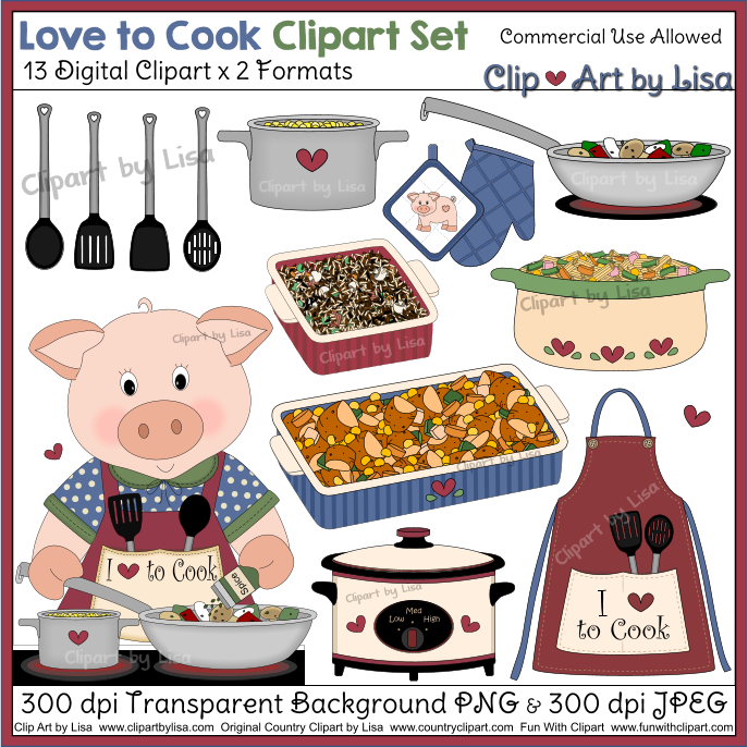 Love to cook clipart with main dish for Art cuisine evolution 10 piece cooking set