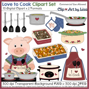 Kitchen cooking baking and food clipart sets for Art cuisine evolution 10 piece cooking set